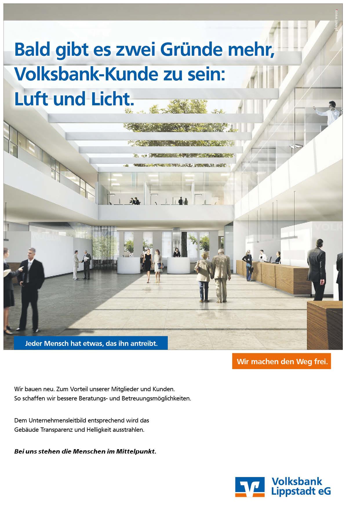 Neubau der Bank: Anzeige getextet